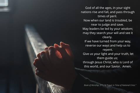 In this prayer from The United Methodist Church's Book of Worship, 517, we seek God's direction and enlightenment for our nation as it experiences turmoil and conflict. Canva image by Crystal Caviness, United Methodist Communications.